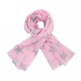 Krasilnikoff Schal Tuch pink graue Sterne 200 x 70 cm